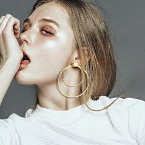 Urban Outfitters Jewelry - Double Layer Circle Hoop Earrings